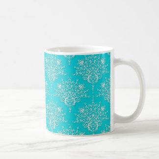 Heller Türkis und weißer Blumendamast Kaffeetasse