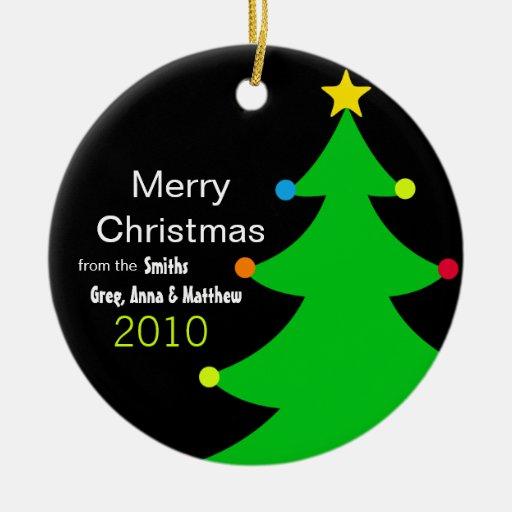 Heller u. moderner Weihnachtsbaum (personalisiert) Rundes Keramik Ornament