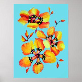 Heller Watercolor-orange Blumen - Aqua Poster