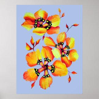 Heller Watercolor-orange Blumen - blaues Grau Poster