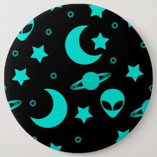 Helles Aqua-blaue alien-Köpfe im Weltraum Runder Button 15,3 Cm