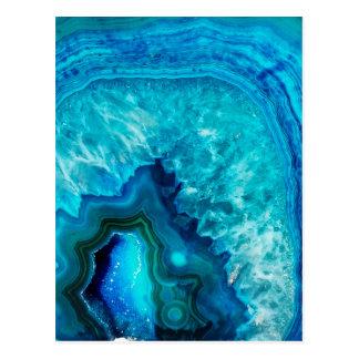 Helles Aqua-blauer Türkis Geode Mineral-Stein Postkarte