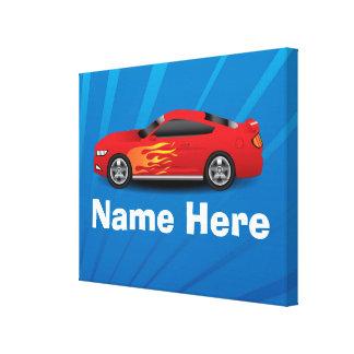 Helles Blau mit rotem Sport-Auto flammt Gespannte Galeriedrucke