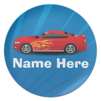 Helles Blau mit rotem Sport-Auto flammt Party Teller
