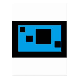 helles Blau mit schwarzen Quadraten Postkarte