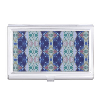 Helles blaues Mosaik-Fliesen-Stammes- Art-Muster Visitenkarten Dose