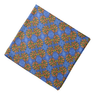 Helles blaues orange Sonnenblume-Muster Kopftuch