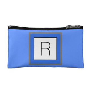 Helles blaues und weißes Quadrat mit Monogramm Makeup-Tasche