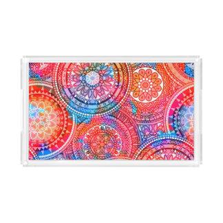Helles böhmisches Boho Hippie-Chic-Muster Acryl Tablett