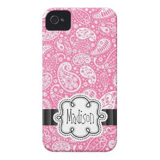 Helles Bubblegum ROSA Paisley Muster-Girly Name iPhone 4 Case-Mate Hüllen