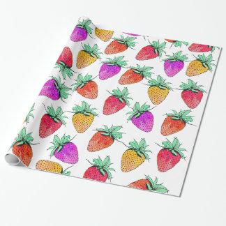 Helles buntes Aquarell-fruchtige Erdbeeren Geschenkpapier
