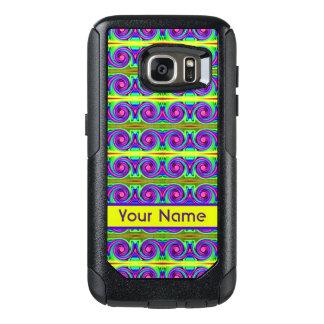 Helles buntes gelbes lila Lockenmuster OtterBox Samsung Galaxy S7 Hülle