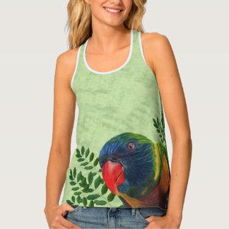 Helles buntes Macaw-Papageien-Grün-Blätter Tanktop