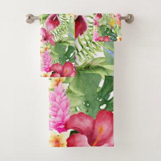 Helles buntes tropisches botanisches mit badhandtuch set