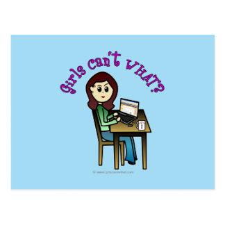 Helles Computer-Mädchen Postkarte