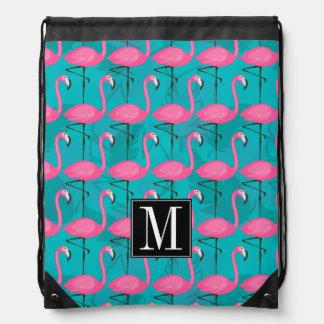 Helles Flamingo-Muster | addieren Ihre Initiale Sportbeutel