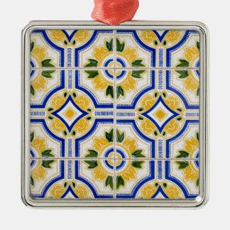 Helles Fliesenmuster, Portugal Quadratisches Silberfarbenes Ornament