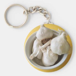 Helles gelbes kochendes Knoblauch-Foto Schlüsselanhänger