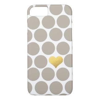 Helles kakifarbiges Tupfen-Goldfolien-Herz iPhone iPhone 8/7 Hülle