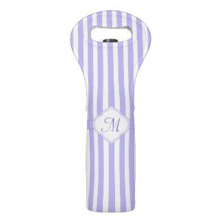 Helles Lavendel-Streifen-Monogramm Weintasche