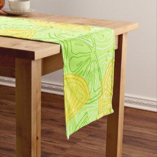 Helles Limones grünes Zitrusfruchtzitronenmuster Kurzer Tischläufer