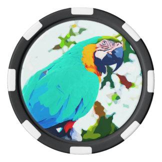 Helles Macaw-Papageien-Porträt Pokerchips