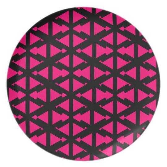 Helles Pink-Zickzack-Art-Muster Teller