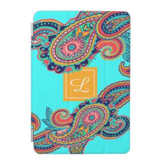 Helles Regenbogen-Aqua-Paisley-Monogramm iPad Mini Hülle