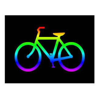 Helles Regenbogen-Fahrrad Postkarte
