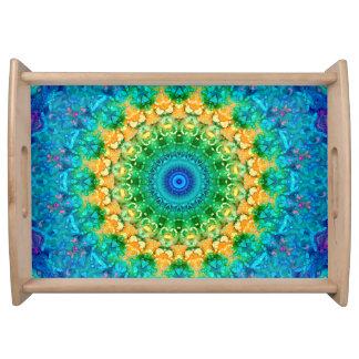 Helles Regenbogen-Farbiges Mandala-Kaleidoskop Serviertablett