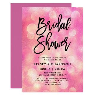 Helles rosa Bokeh und der Typografie-| Brautparty Karte