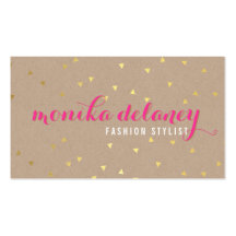 Helles Rosa GEOconfetti-GOLDstilvolles modisches Visitenkartenvorlagen