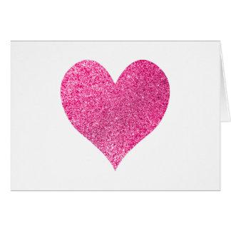 Helles rosa Glitter-Herz danken Ihnen Karte