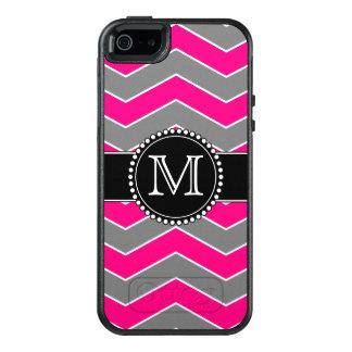 Helles rosa Grau, schwarzes Zickzack, mit OtterBox iPhone 5/5s/SE Hülle