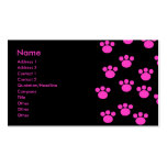 Helles rosa und schwarzes Tatzen-Druck-Muster Visitenkarten