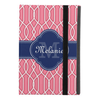 Helles rosa weißes Gitter-Muster-Marine-Monogramm iPad Mini 4 Hülle