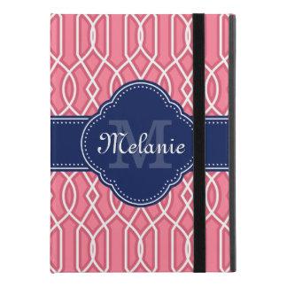 "Helles rosa weißes Gitter-Muster-Marine-Monogramm iPad Pro 9.7"" Hülle"