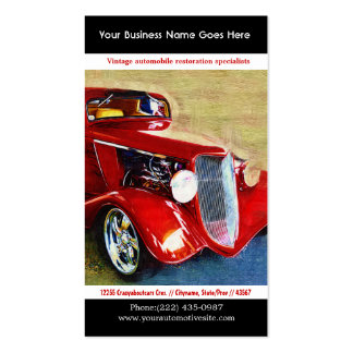 Helles Rot wieder hergestelltes Vintages Auto-Foto Visitenkartenvorlagen