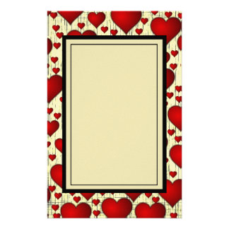 Helles rotes romantisches Herz-Muster Briefpapier