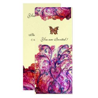 Helles rotes rosa lila Silber des WUNDERLICHEN 10,2 X 23,5 Cm Einladungskarte