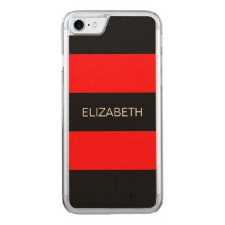 Helles rotes schwarzes Horiz adrettes Monogramm Carved iPhone 8/7 Hülle