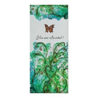 Helles Silber des blauen Grüns des WUNDERLICHEN 10,2 X 23,5 Cm Einladungskarte