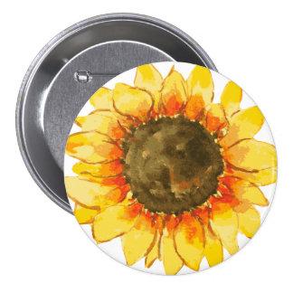 Helles Sommer-Sonnenblume-Aquarell Runder Button 7,6 Cm