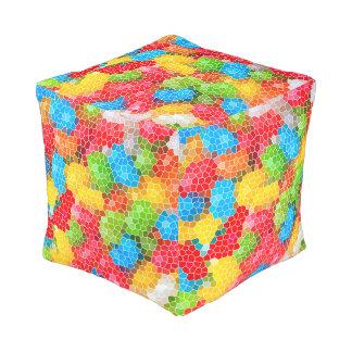 Helles und buntes einzigartiges abstraktes Muster Kubus Sitzpuff