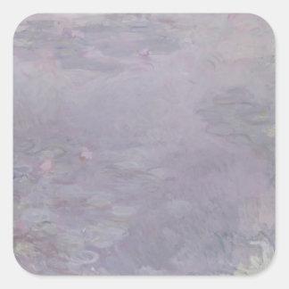 Hellfarbige Wasserlilien Claudes Monet | Quadratischer Aufkleber