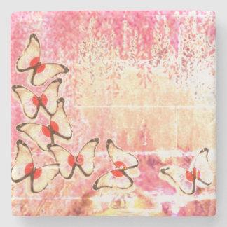 Hellgelber weinender Schmetterlings-Baum Steinuntersetzer