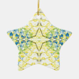 Hellgelbes blaues kreisförmiges künstlerisches keramik ornament