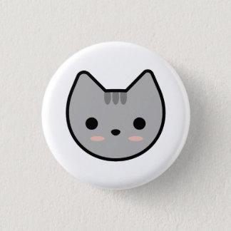 Hellgrauer Kätzchen-Knopf Runder Button 2,5 Cm