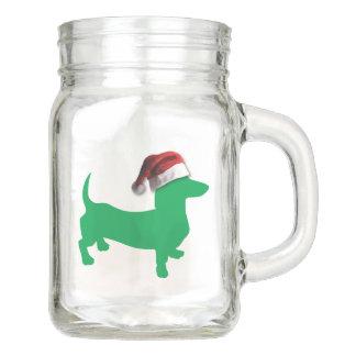 Hellgrüne Dackel mit einem Weihnachtsmann-Hut Einmachglas
