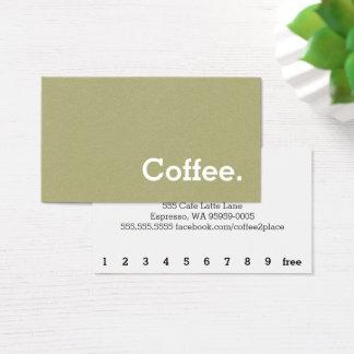 Hellgrüne Flanell-Loyalitäts-Kaffee-Lochkarte Visitenkarte